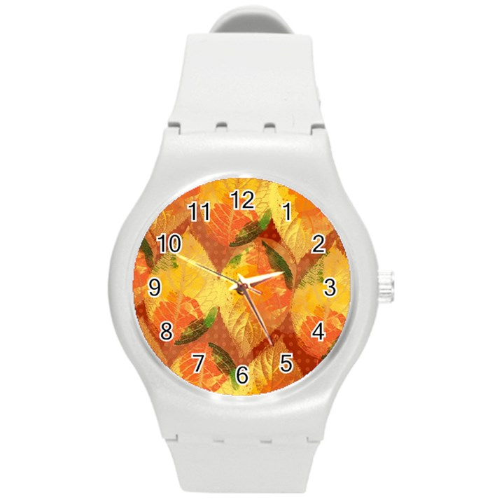 Fall Colors Leaves Pattern Round Plastic Sport Watch (M)