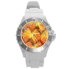 Fall Colors Leaves Pattern Round Plastic Sport Watch (l) by DanaeStudio