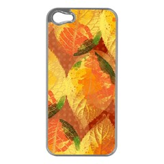 Fall Colors Leaves Pattern Apple Iphone 5 Case (silver) by DanaeStudio