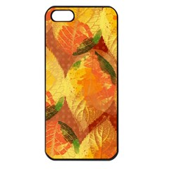 Fall Colors Leaves Pattern Apple Iphone 5 Seamless Case (black) by DanaeStudio