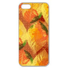Fall Colors Leaves Pattern Apple Seamless Iphone 5 Case (clear) by DanaeStudio