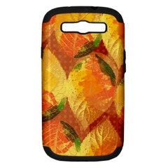 Fall Colors Leaves Pattern Samsung Galaxy S Iii Hardshell Case (pc+silicone) by DanaeStudio