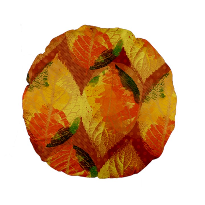 Fall Colors Leaves Pattern Standard 15  Premium Round Cushions