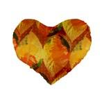 Fall Colors Leaves Pattern Standard 16  Premium Heart Shape Cushions Back
