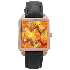 Fall Colors Leaves Pattern Rose Gold Leather Watch