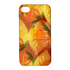Fall Colors Leaves Pattern Apple Iphone 4/4s Hardshell Case With Stand by DanaeStudio