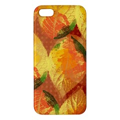 Fall Colors Leaves Pattern Apple Iphone 5 Premium Hardshell Case by DanaeStudio
