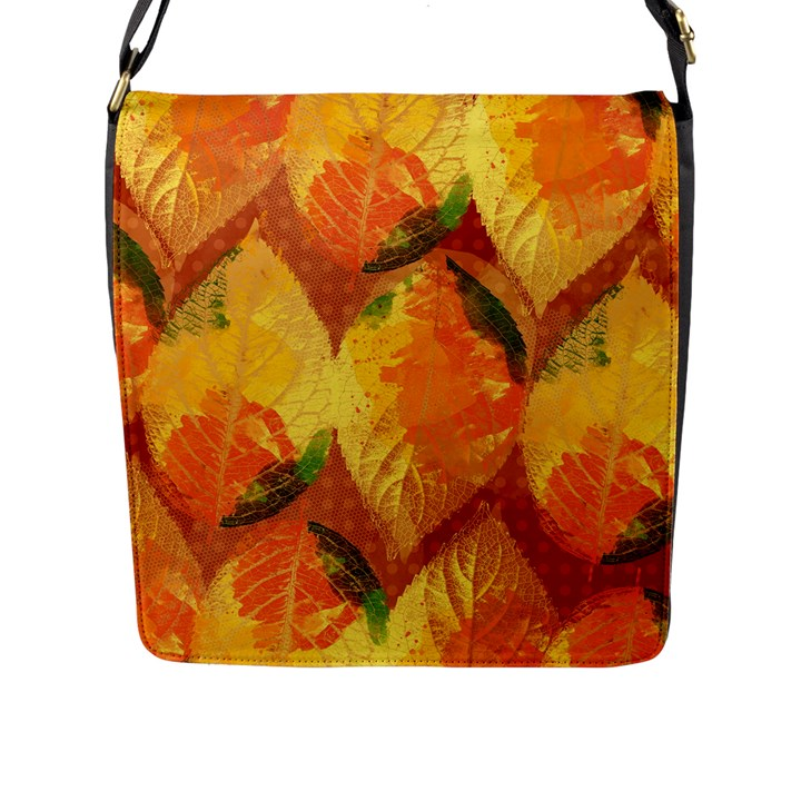 Fall Colors Leaves Pattern Flap Messenger Bag (L)