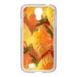 Fall Colors Leaves Pattern Samsung GALAXY S4 I9500/ I9505 Case (White) Front