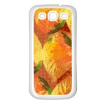 Fall Colors Leaves Pattern Samsung Galaxy S3 Back Case (White) Front