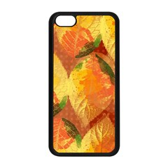 Fall Colors Leaves Pattern Apple Iphone 5c Seamless Case (black) by DanaeStudio
