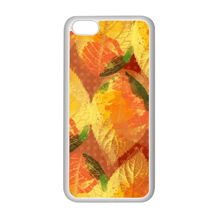 Fall Colors Leaves Pattern Apple iPhone 5C Seamless Case (White)