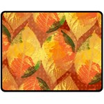 Fall Colors Leaves Pattern Double Sided Fleece Blanket (Medium)  58.8 x47.4 Blanket Front