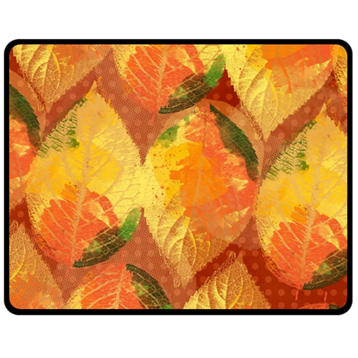 Fall Colors Leaves Pattern Double Sided Fleece Blanket (Medium)