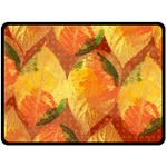 Fall Colors Leaves Pattern Double Sided Fleece Blanket (Large)  80 x60 Blanket Back