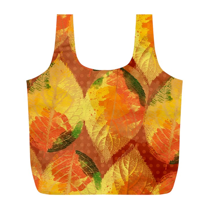 Fall Colors Leaves Pattern Full Print Recycle Bags (L)