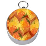 Fall Colors Leaves Pattern Silver Compasses Front
