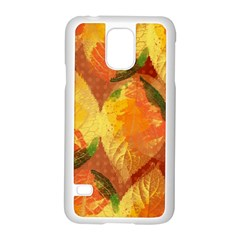 Fall Colors Leaves Pattern Samsung Galaxy S5 Case (white) by DanaeStudio