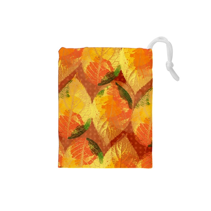 Fall Colors Leaves Pattern Drawstring Pouches (Small)