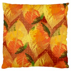 Fall Colors Leaves Pattern Large Flano Cushion Case (two Sides) by DanaeStudio