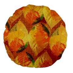 Fall Colors Leaves Pattern Large 18  Premium Flano Round Cushions by DanaeStudio