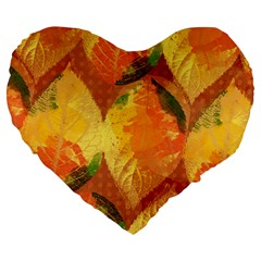 Fall Colors Leaves Pattern Large 19  Premium Flano Heart Shape Cushions by DanaeStudio