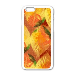 Fall Colors Leaves Pattern Apple Iphone 6/6s White Enamel Case by DanaeStudio