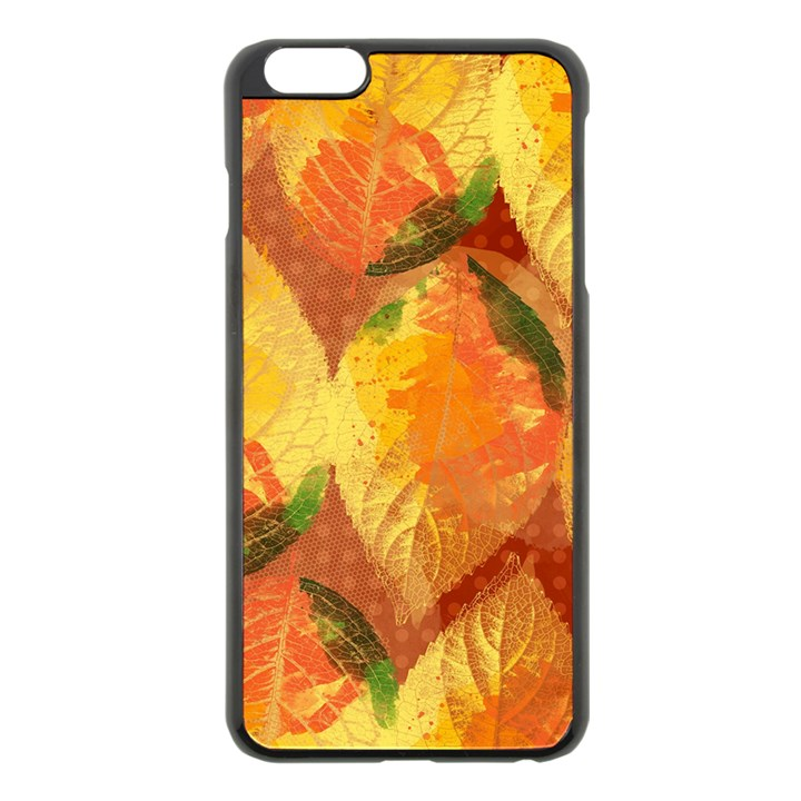Fall Colors Leaves Pattern Apple iPhone 6 Plus/6S Plus Black Enamel Case