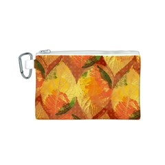 Fall Colors Leaves Pattern Canvas Cosmetic Bag (s) by DanaeStudio