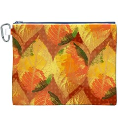 Fall Colors Leaves Pattern Canvas Cosmetic Bag (xxxl) by DanaeStudio