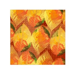 Fall Colors Leaves Pattern Small Satin Scarf (square)  by DanaeStudio