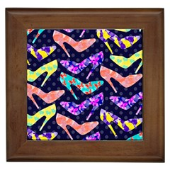 Colorful High Heels Pattern Framed Tiles by DanaeStudio