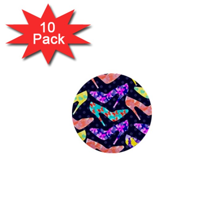Colorful High Heels Pattern 1  Mini Buttons (10 pack)