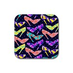Colorful High Heels Pattern Rubber Coaster (Square)  Front
