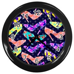 Colorful High Heels Pattern Wall Clocks (black) by DanaeStudio