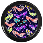 Colorful High Heels Pattern Wall Clocks (Black) Front