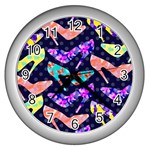 Colorful High Heels Pattern Wall Clocks (Silver)