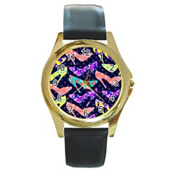 Colorful High Heels Pattern Round Gold Metal Watch by DanaeStudio