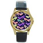 Colorful High Heels Pattern Round Gold Metal Watch