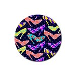Colorful High Heels Pattern Rubber Coaster (Round)