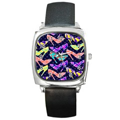 Colorful High Heels Pattern Square Metal Watch by DanaeStudio