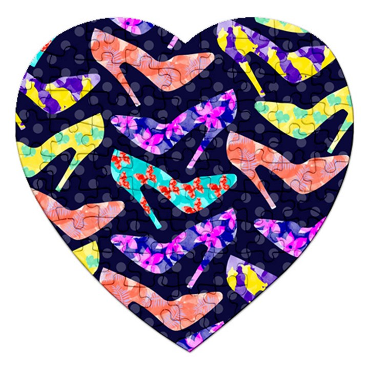Colorful High Heels Pattern Jigsaw Puzzle (Heart)