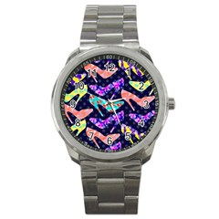 Colorful High Heels Pattern Sport Metal Watch by DanaeStudio