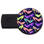 Colorful High Heels Pattern USB Flash Drive Round (4 GB)  Front