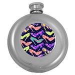 Colorful High Heels Pattern Round Hip Flask (5 oz)