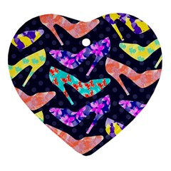 Colorful High Heels Pattern Heart Ornament (2 Sides)