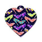 Colorful High Heels Pattern Dog Tag Heart (One Side)