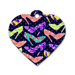 Colorful High Heels Pattern Dog Tag Heart (two Sides) by DanaeStudio
