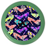Colorful High Heels Pattern Color Wall Clocks Front