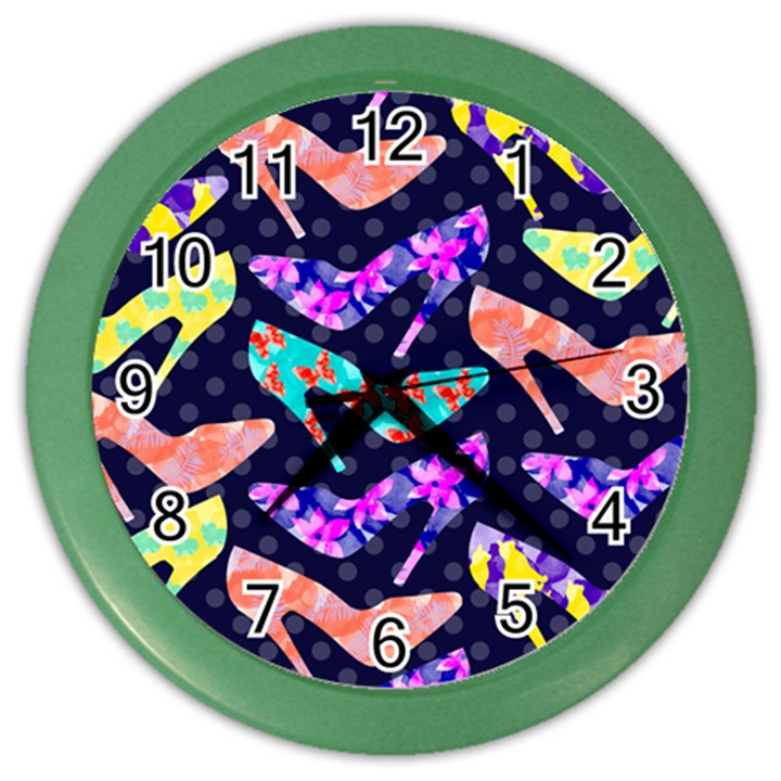 Colorful High Heels Pattern Color Wall Clocks